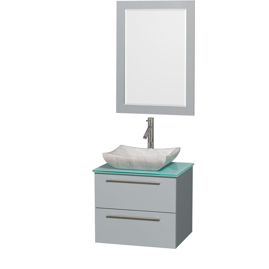 Wyndham Collection Amare Dove Gray 24-in Vessel Single Sink Bathroom Vanity with Tempered Glass and Glass Top (Mirror Included)