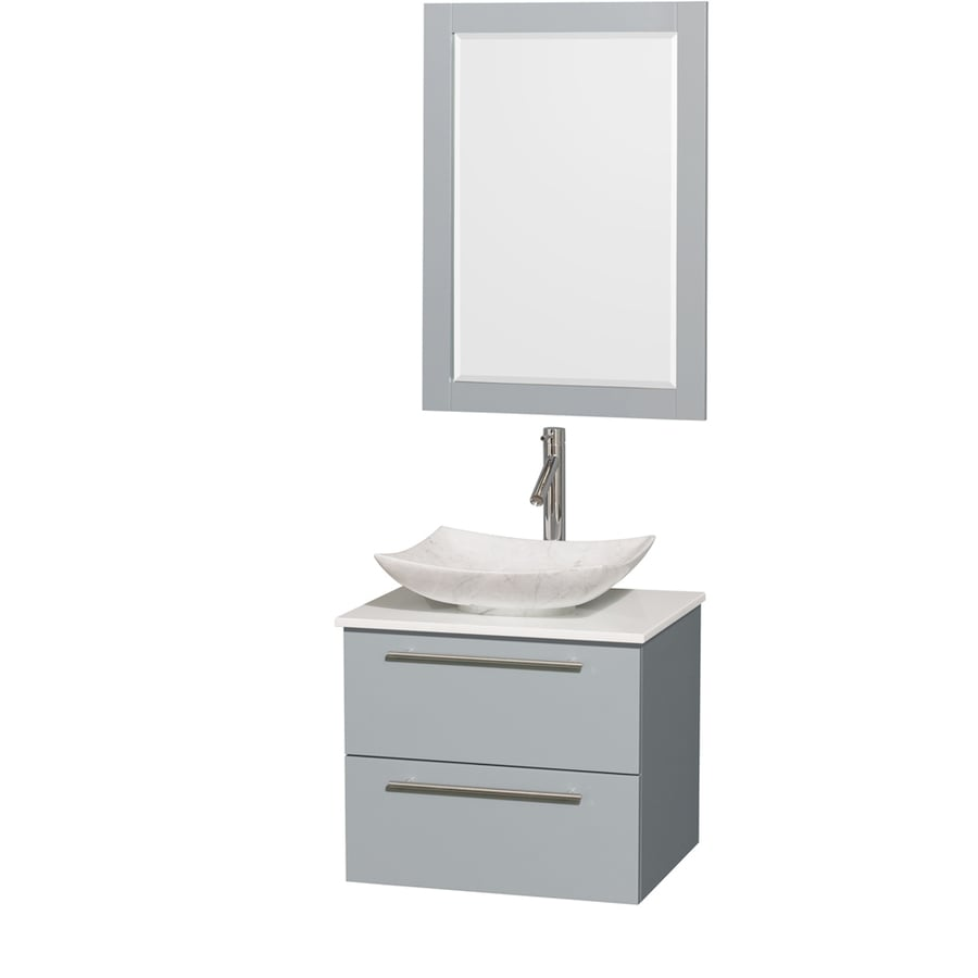 Wyndham Collection Amare Dove Gray Single Vessel Sink Bathroom Vanity with Engineered Stone Top (Common: 24-in x 20-in; Actual: 24-in x 19.5-in)