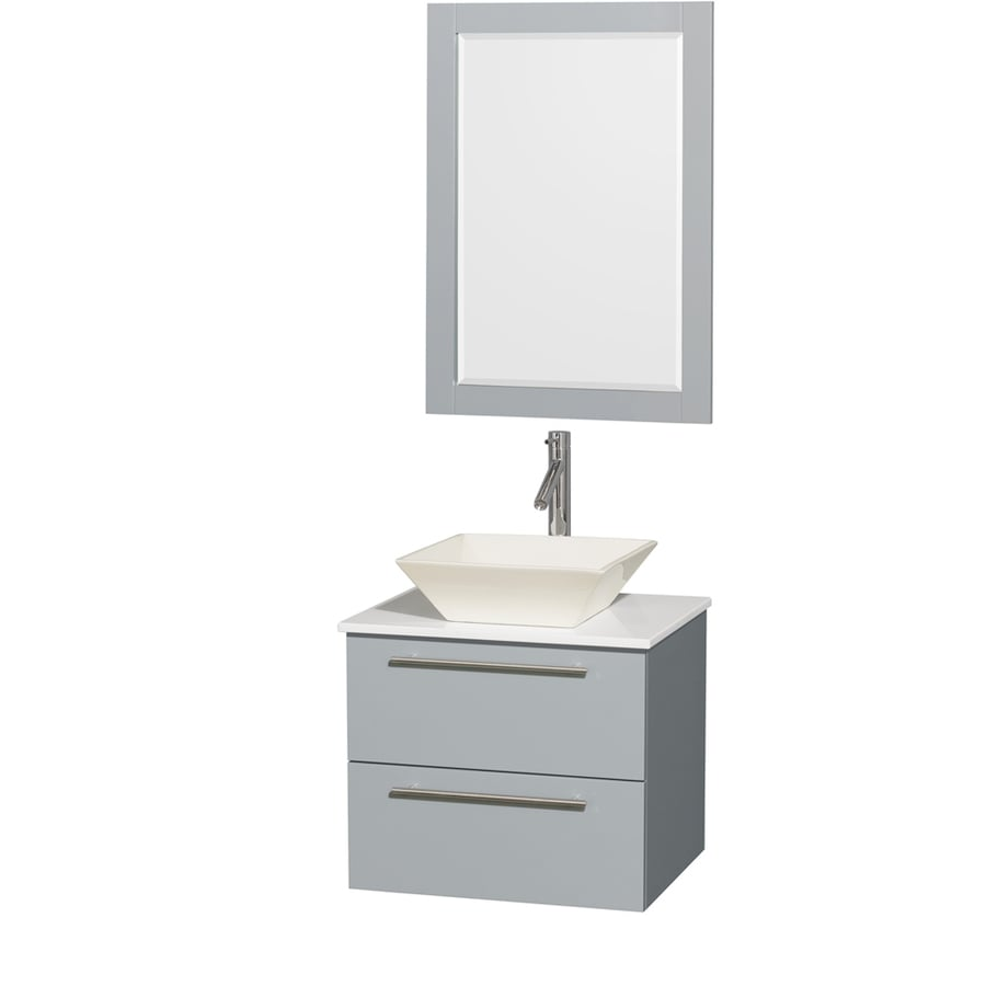 Wyndham Collection Amare Dove Gray 24-in Vessel Single Sink Bathroom Vanity with Engineered Stone Top (Mirror Included)