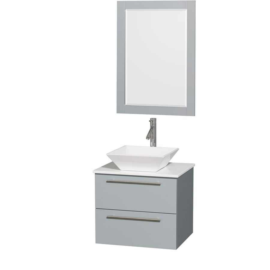 Wyndham Collection Amare Dove Gray (Common: 24-in x 20-in) Vessel Single Sink Bathroom Vanity with Engineered Stone Top (Mirror Included) (Actual: 24-in x 19.5-in)