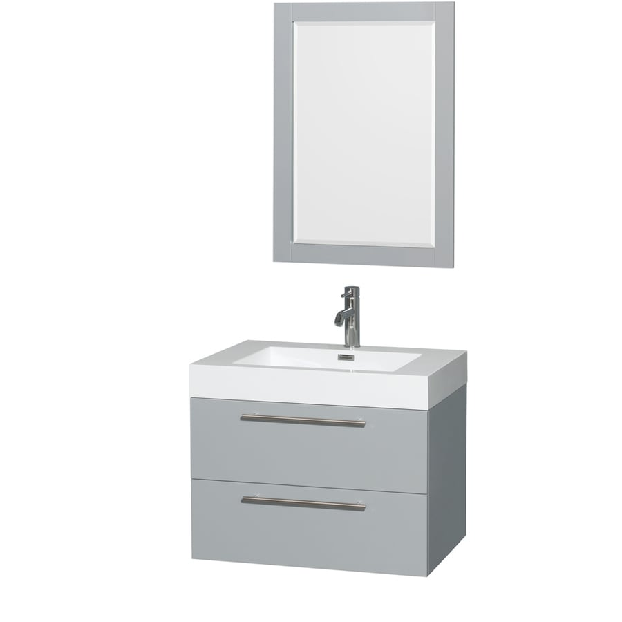 Wyndham Collection Amare Dove Gray 29-in Integral Single Sink Bathroom Vanity with Acrylic Top (Mirror Included)