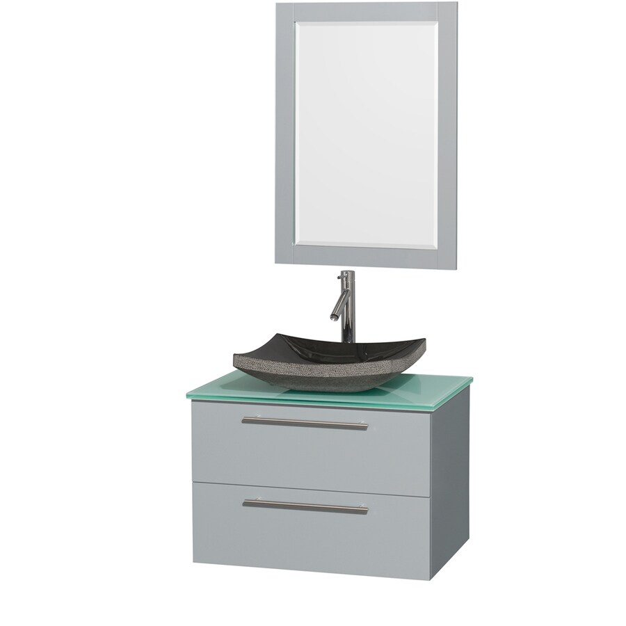 Wyndham Collection Amare Dove Gray Single Vessel Sink Bathroom Vanity with Tempered Glass and Glass Top (Common: 30-in x 21-in; Actual: 30-in x 20.5-in)