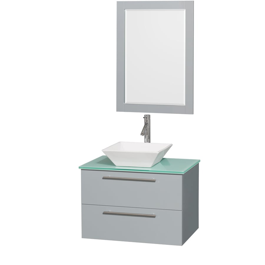 Wyndham Collection Amare Dove Gray (Common: 30-in x 21-in) Vessel Single Sink Bathroom Vanity with Tempered Glass and Glass Top (Mirror Included) (Actual: 30-in x 20.5-in)
