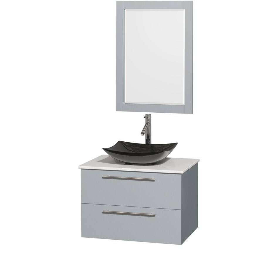 Wyndham Collection Amare Dove Gray 30-in Vessel Single Sink Bathroom Vanity with Engineered Stone Top (Mirror Included)