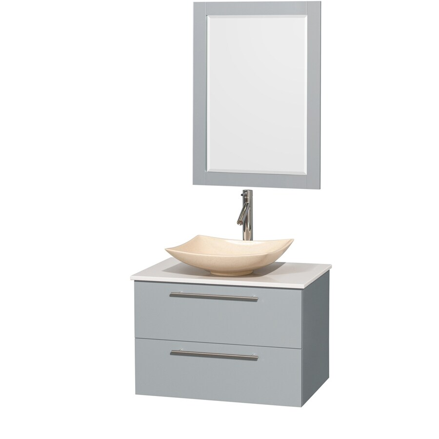 shop wyndham collection amare dove gray single vessel sink