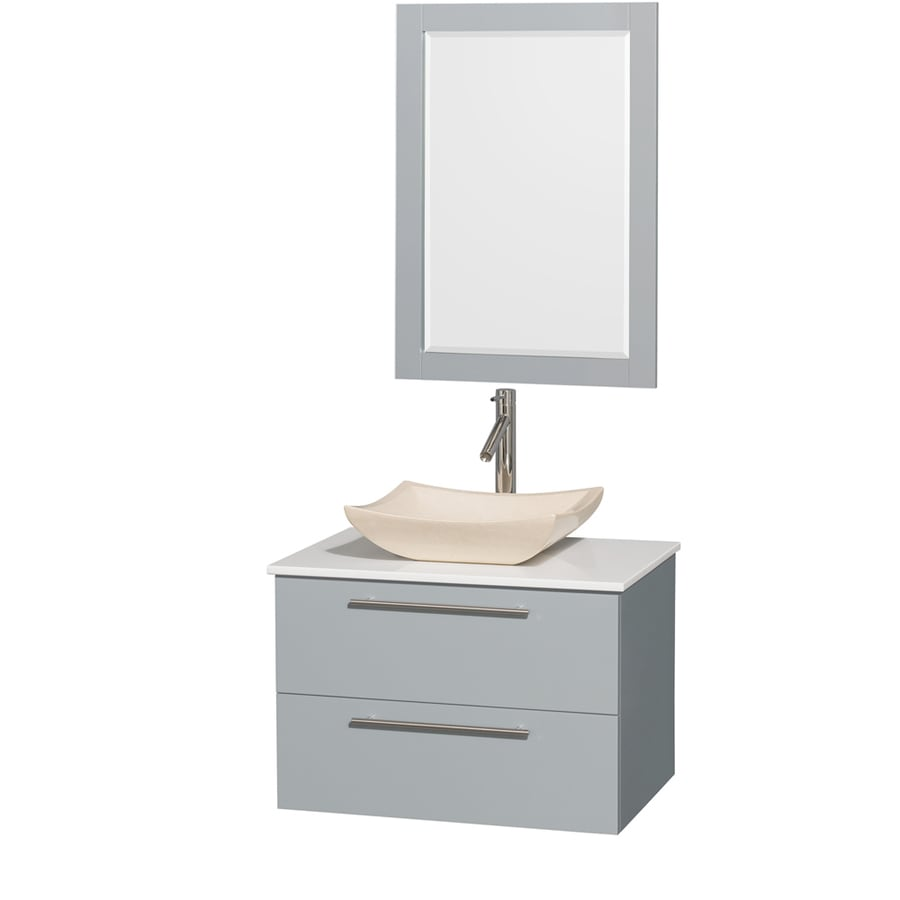 Wyndham Collection Amare Dove Gray Single Vessel Sink Bathroom Vanity with Engineered Stone Top (Common: 30-in x 21-in; Actual: 30-in x 20.5-in)
