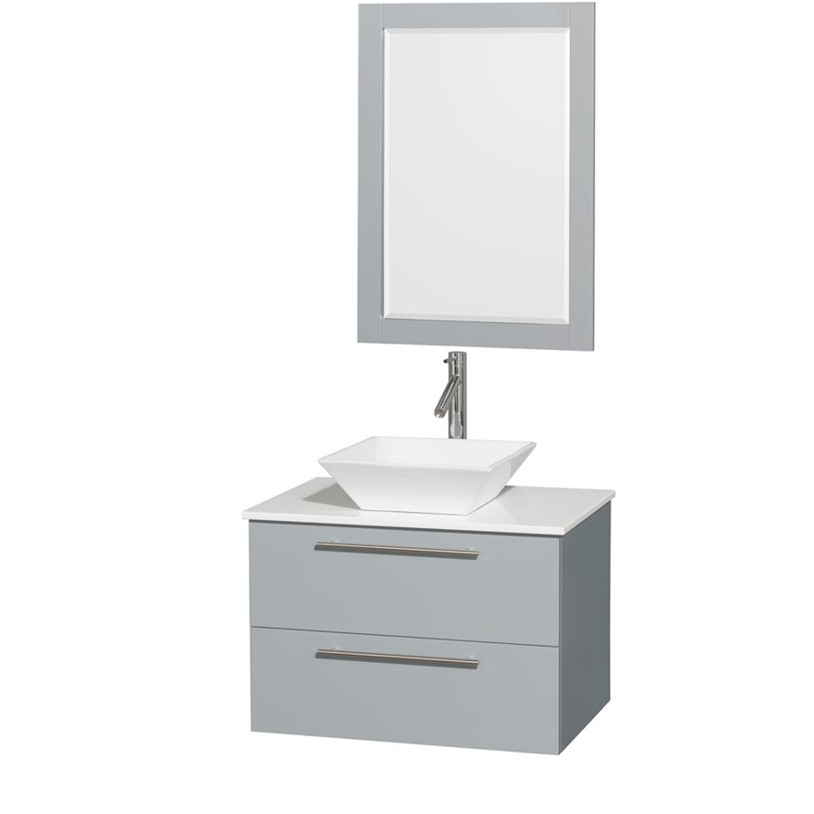 Wyndham Collection Amare Dove Gray (Common: 30-in x 21-in) Vessel Single Sink Bathroom Vanity with Engineered Stone Top (Mirror Included) (Actual: 30-in x 20.5-in)