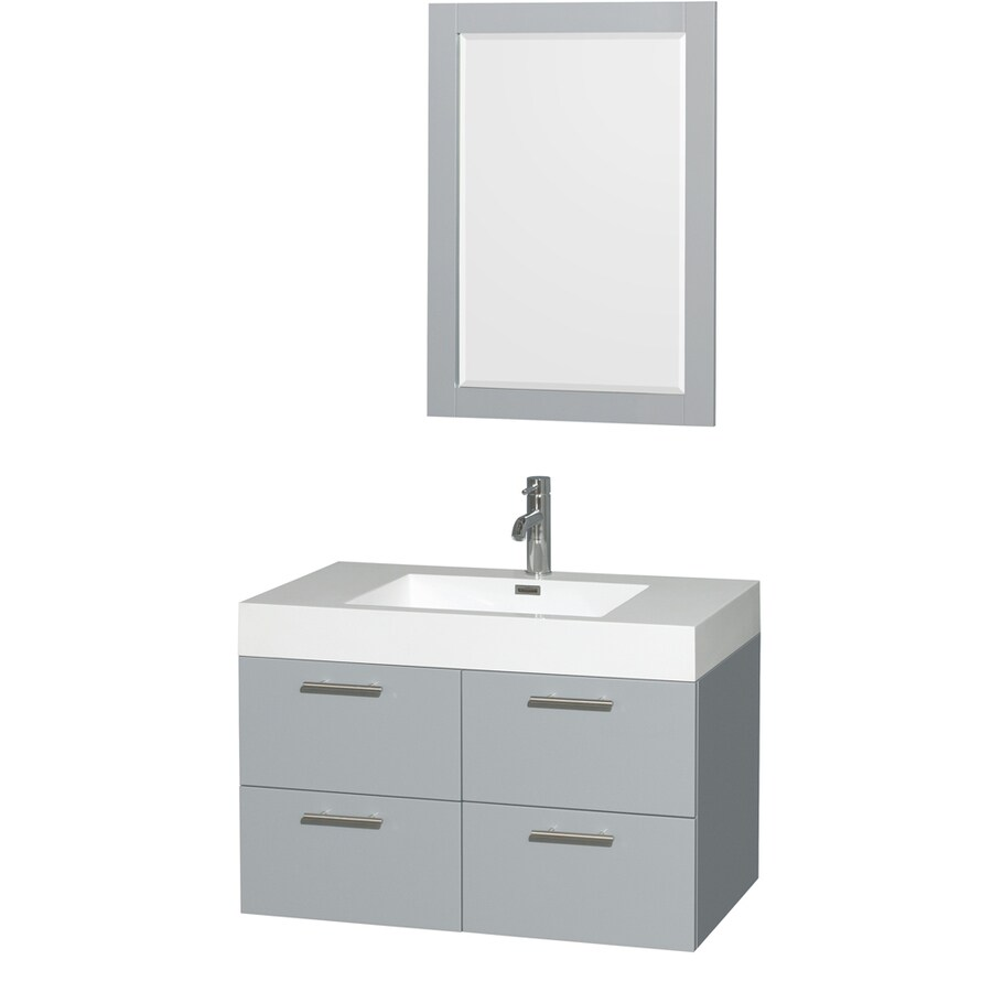 Wyndham Collection Amare Dove Gray 35-in Integral Single Sink Bathroom Vanity with Acrylic Top (Mirror Included)