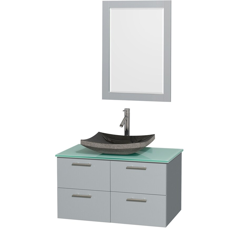 Wyndham Collection Amare Dove Gray (Common: 36-in x 22-in) Vessel Single Sink Bathroom Vanity with Tempered Glass and Glass Top (Mirror Included) (Actual: 36-in x 21.5-in)
