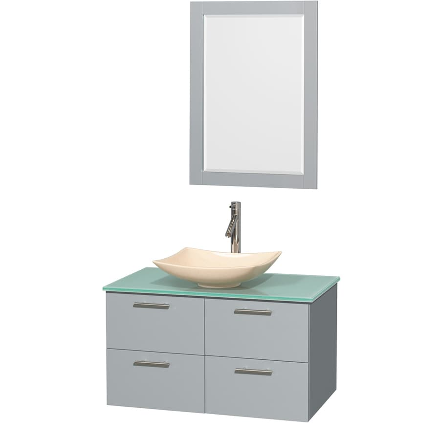 Wyndham Collection Amare Dove Gray 36-in Vessel Single Sink Bathroom Vanity with Tempered Glass and Glass Top (Mirror Included)