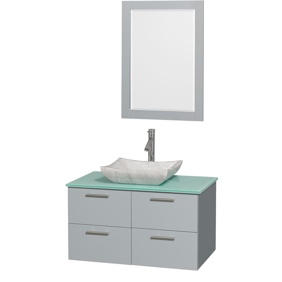 Collection Amare Dove Gray 36-in Vessel Single Sink Bathroom Vanity ...