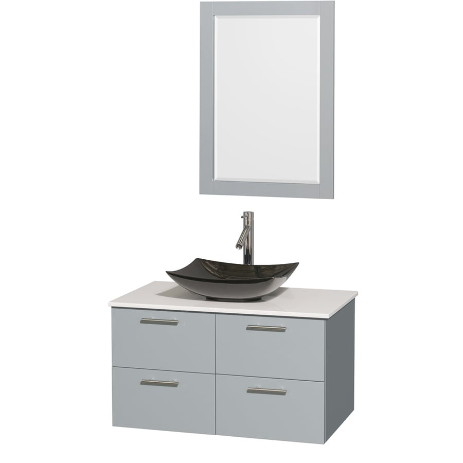 Wyndham Collection Amare Dove Gray 36-in Vessel Single Sink Bathroom Vanity with Engineered Stone Top (Mirror Included)