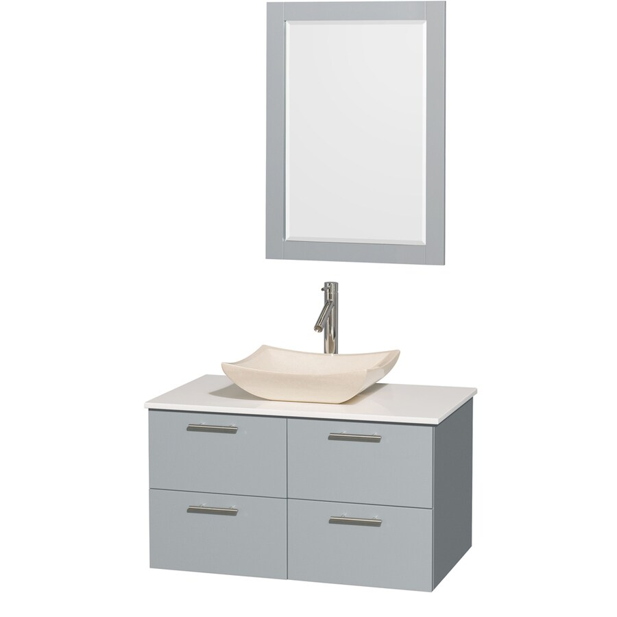 Wyndham Collection Amare Dove Gray Single Vessel Sink Bathroom Vanity with Engineered Stone Top (Common: 36-in x 22-in; Actual: 36-in x 21.5-in)