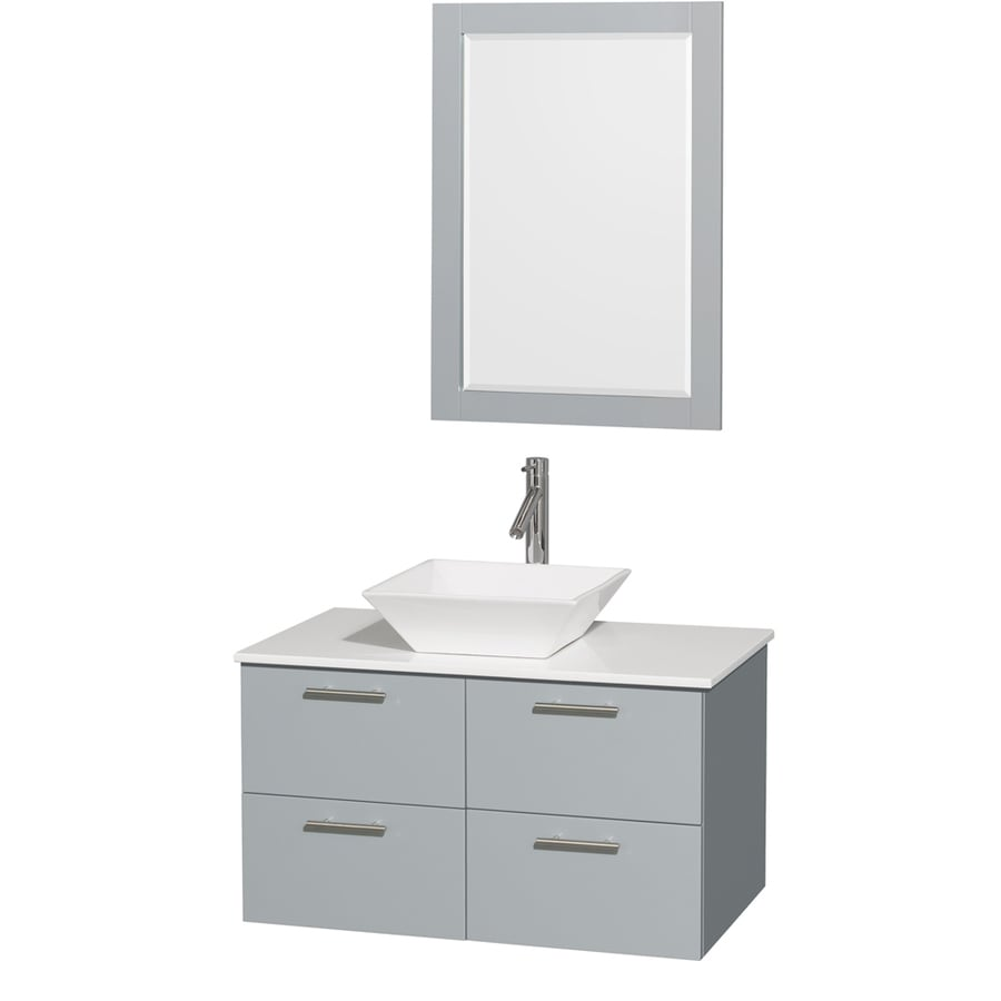 Wyndham Collection Amare Dove Gray (Common: 36-in x 22-in) Vessel Single Sink Bathroom Vanity with Engineered Stone Top (Mirror Included) (Actual: 36-in x 21.5-in)