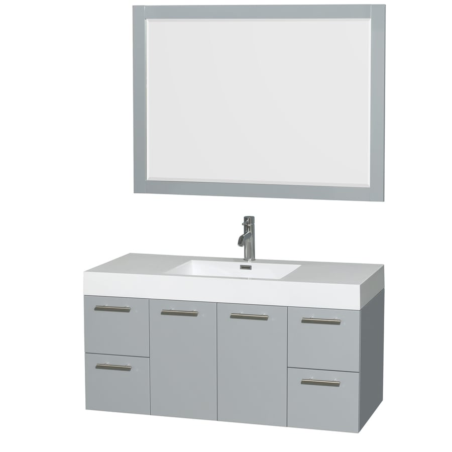 Wyndham Collection Amare Dove Gray Integrated Single Sink Bathroom Vanity with Acrylic Top (Common: 48-in x 21-in; Actual: 47-in x 21-in)
