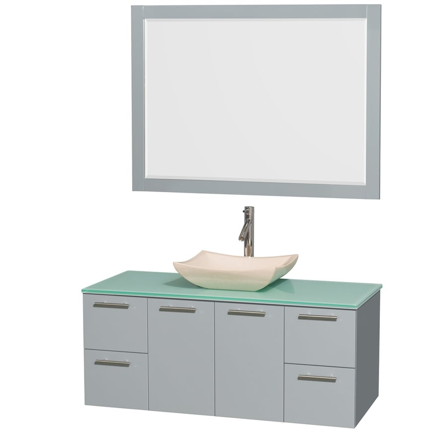 Wyndham Collection Amare Dove Gray 48-in Vessel Single Sink Bathroom Vanity with Tempered Glass and Glass Top (Mirror Included)