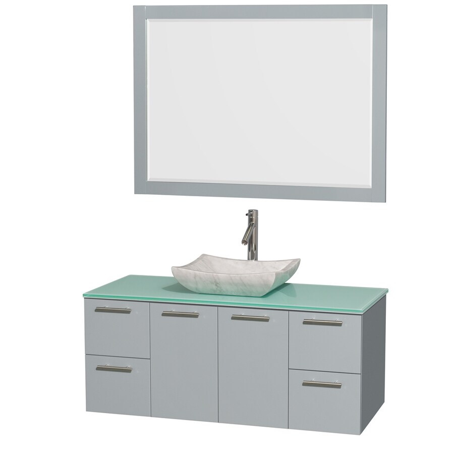Wyndham Collection Amare Dove Gray (Common: 48-in x 22-in) Vessel Single Sink Bathroom Vanity with Tempered Glass and Glass Top (Mirror Included) (Actual: 48-in x 21.75-in)