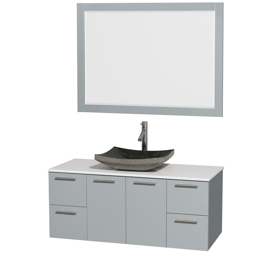 Wyndham Collection Amare Dove Gray Single Vessel Sink Bathroom Vanity with Engineered Stone Top (Common: 48-in x 22-in; Actual: 48-in x 21.75-in)