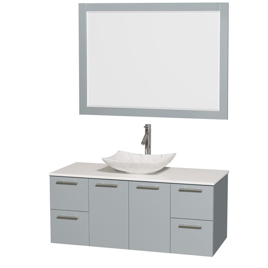 Wyndham Collection Amare Dove Gray (Common: 48-in x 22-in) Vessel Single Sink Bathroom Vanity with Engineered Stone Top (Mirror Included) (Actual: 48-in x 21.75-in)