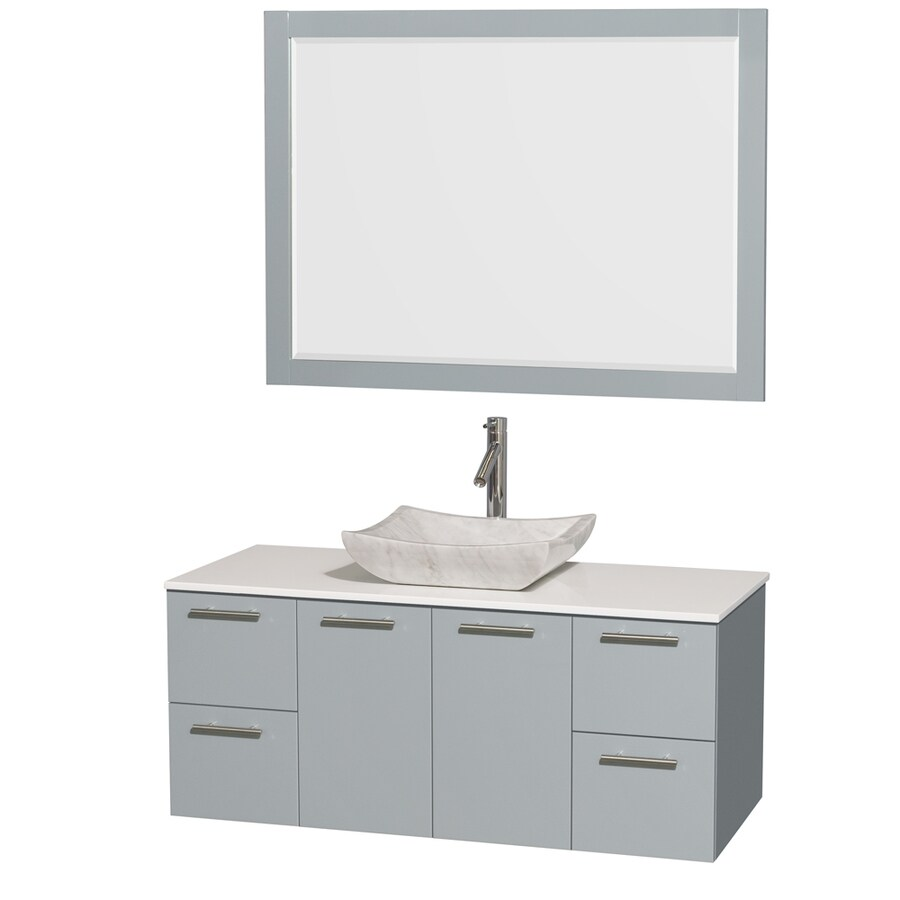 Wyndham Collection Amare Dove Gray 48-in Vessel Single Sink Bathroom Vanity with Engineered Stone Top (Mirror Included)