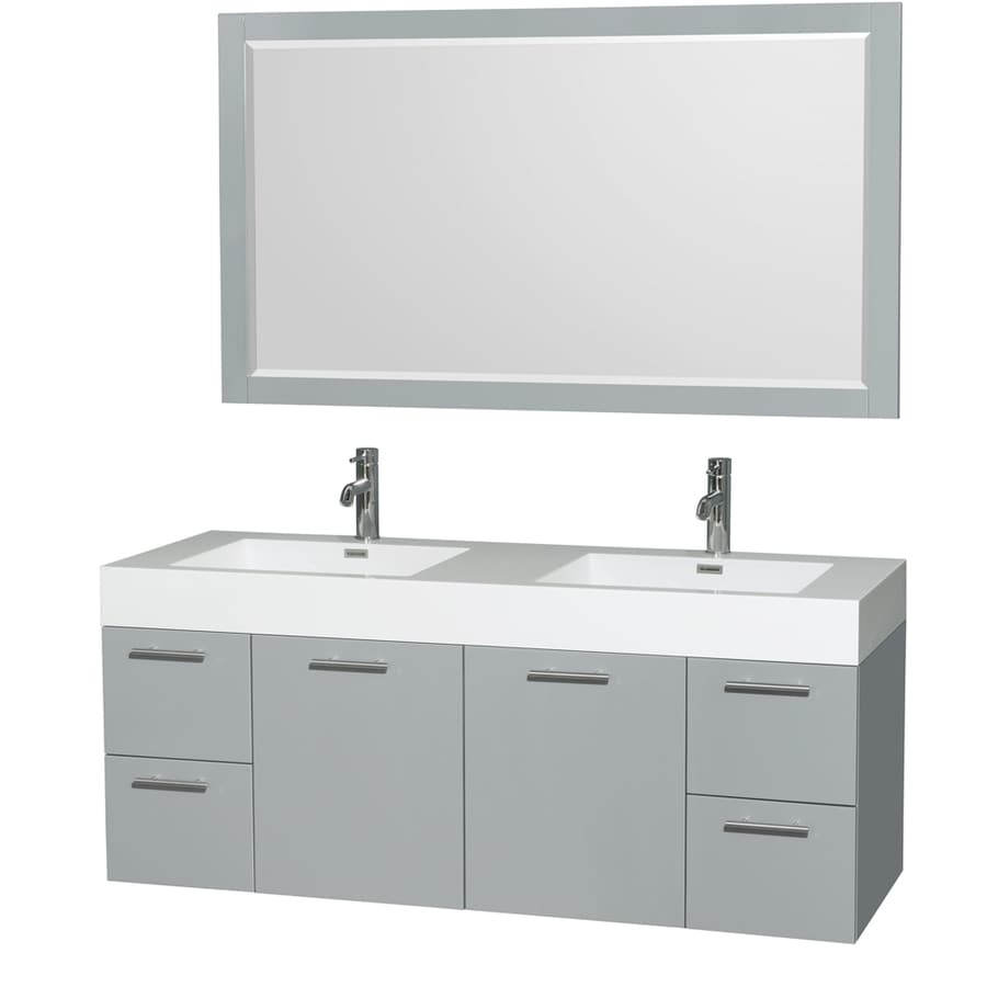 Wyndham Collection Amare Dove Gray (Common: 60-in x 22-in) Integral Double Sink Bathroom Vanity with Acrylic Top (Mirror Included) (Actual: 60-in x 21.75-in)
