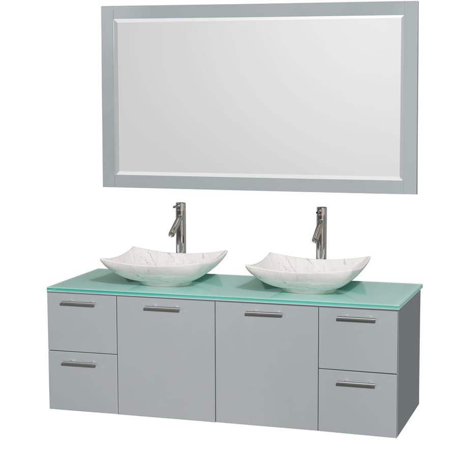 Wyndham Collection Amare Dove Gray 60-in Vessel Double Sink Bathroom Vanity with Tempered Glass and Glass Top (Mirror Included)