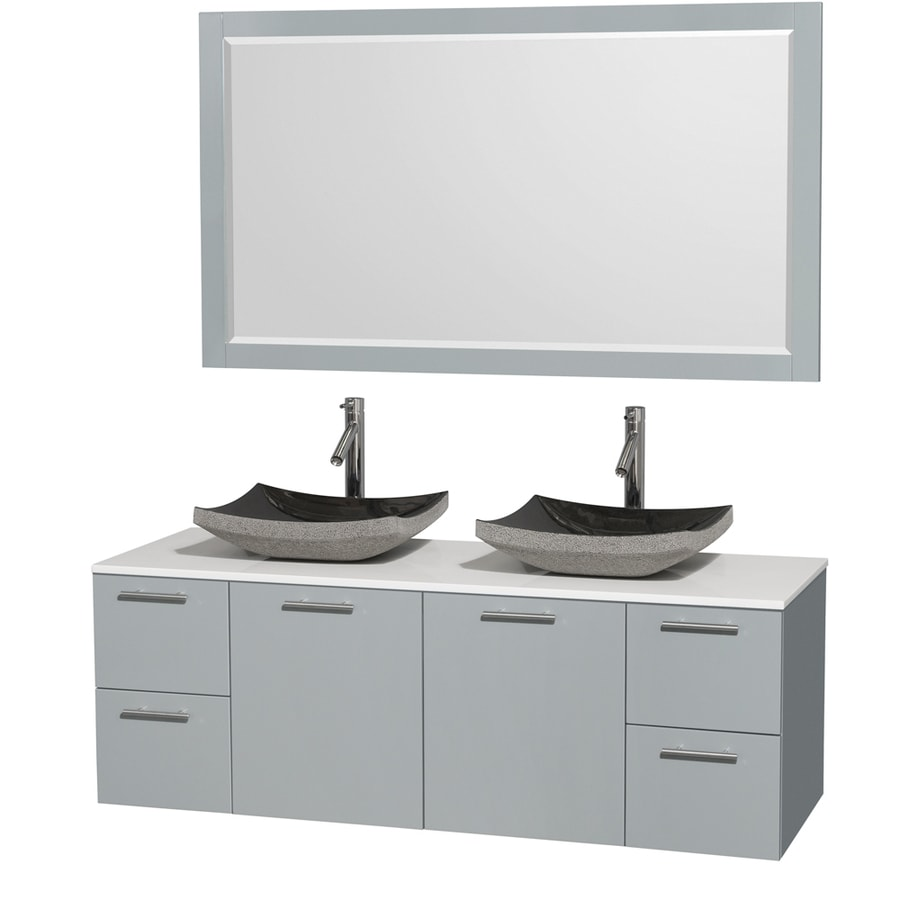 Wyndham Collection Amare Dove Gray 60-in Vessel Double Sink Bathroom Vanity with Engineered Stone Top (Mirror Included)