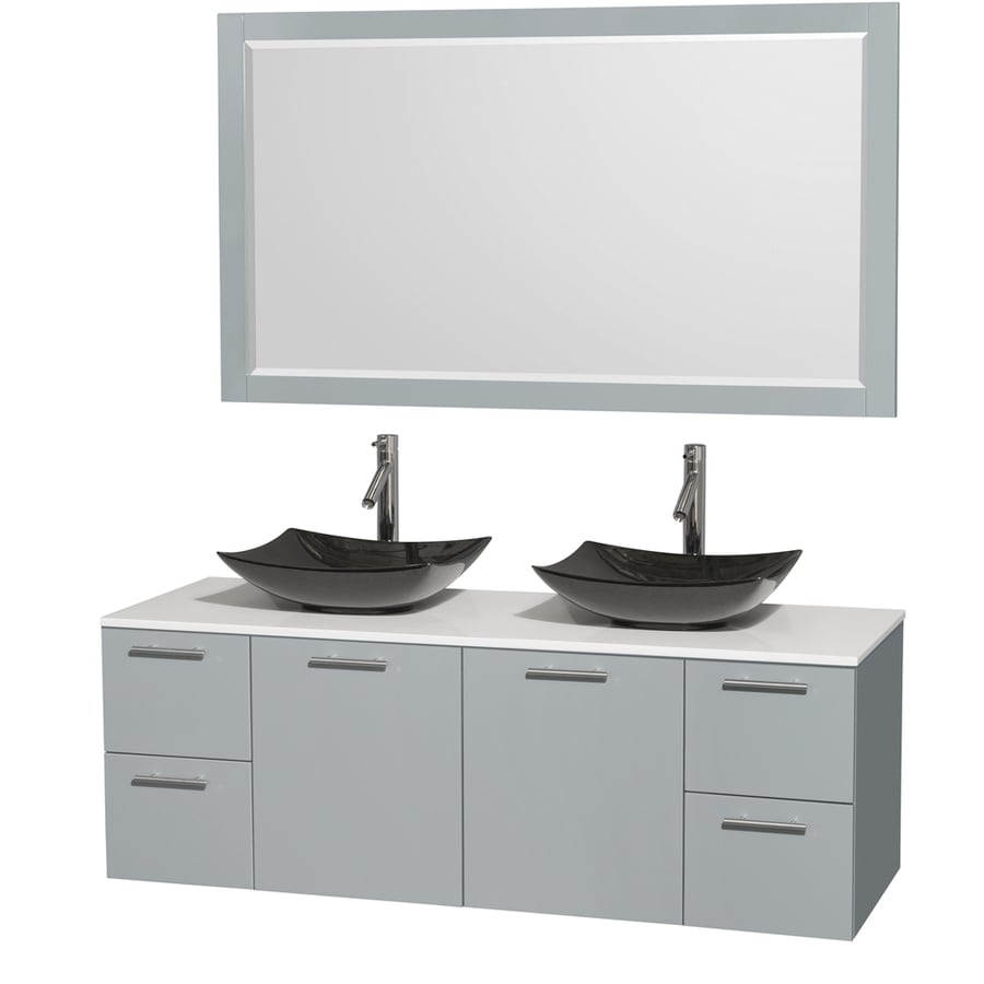 Wyndham Collection Amare Dove Gray Double Vessel Sink Bathroom Vanity with Engineered Stone Top (Common: 60-in x 22-in; Actual: 60-in x 22.25-in)
