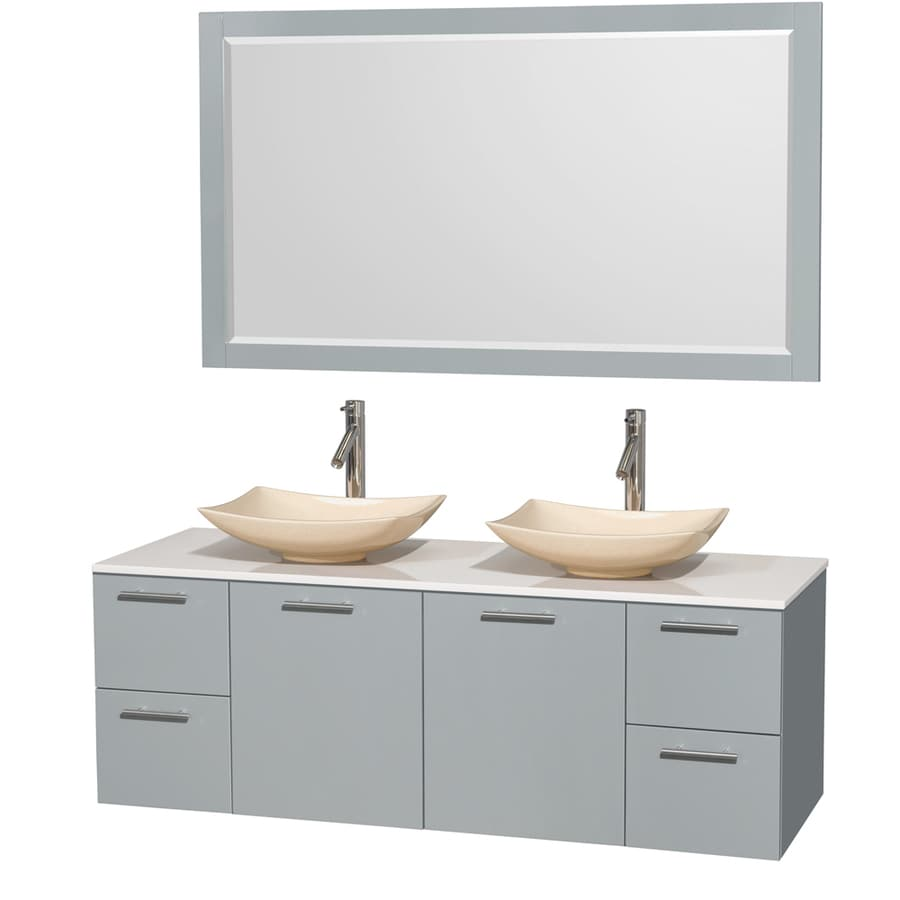 Shop Wyndham Collection Amare Dove Gray Double Vessel Sink
