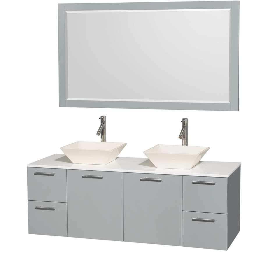 Wyndham Collection Amare Dove Gray (Common: 60-in x 22-in) Vessel Double Sink Bathroom Vanity with Engineered Stone Top (Mirror Included) (Actual: 60-in x 22.25-in)