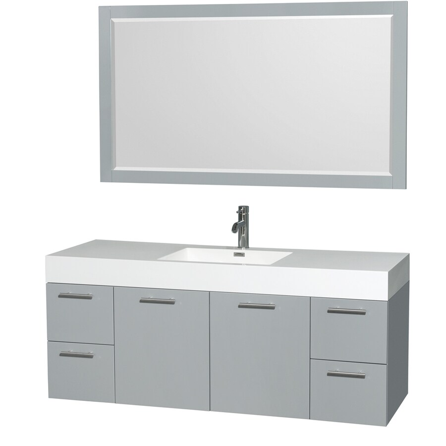 Wyndham Collection Amare Dove Gray 60-in Integral Single Sink Bathroom Vanity with Acrylic Top (Mirror Included)