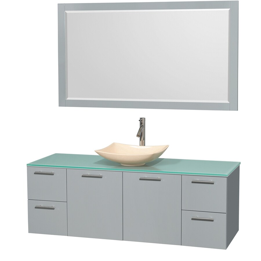 Wyndham Collection Amare Dove Gray Single Vessel Sink Bathroom Vanity with Tempered Glass and Glass Top (Common: 60-in x 22-in; Actual: 60-in x 22.25-in)
