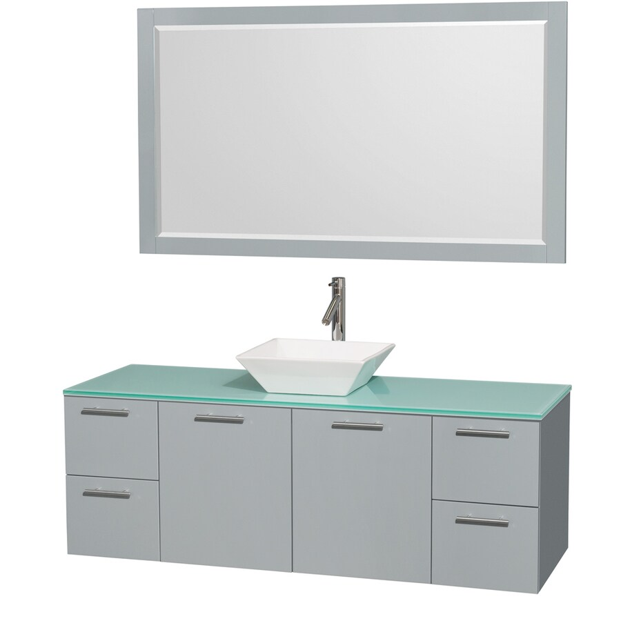 Wyndham Collection Amare Dove Gray (Common: 60-in x 22-in) Vessel Single Sink Bathroom Vanity with Tempered Glass and Glass Top (Mirror Included) (Actual: 60-in x 22.25-in)