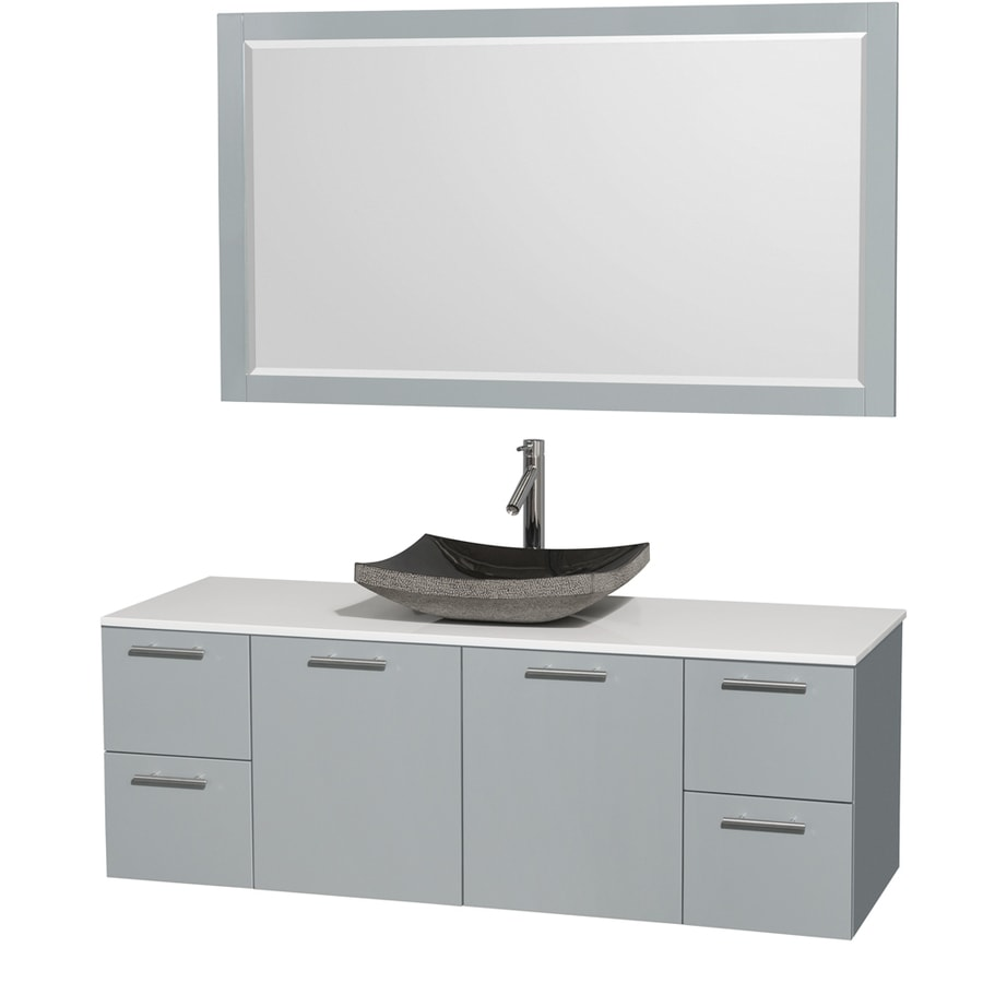 Wyndham Collection Amare Dove Gray (Common: 60-in x 22-in) Vessel Single Sink Bathroom Vanity with Engineered Stone Top (Mirror Included) (Actual: 60-in x 22.25-in)