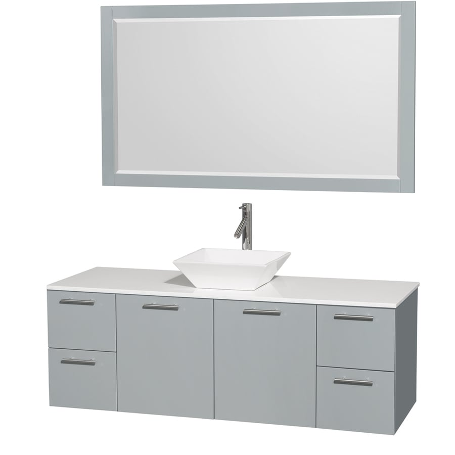 Wyndham Collection Amare Dove Gray 60-in Vessel Single Sink Bathroom Vanity with Engineered Stone Top (Mirror Included)