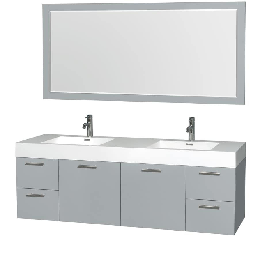 Wyndham Collection Amare Dove Gray Integrated Double Sink Bathroom Vanity with Acrylic Top (Common: 72-in x 22-in; Actual: 72-in x 21.75-in)