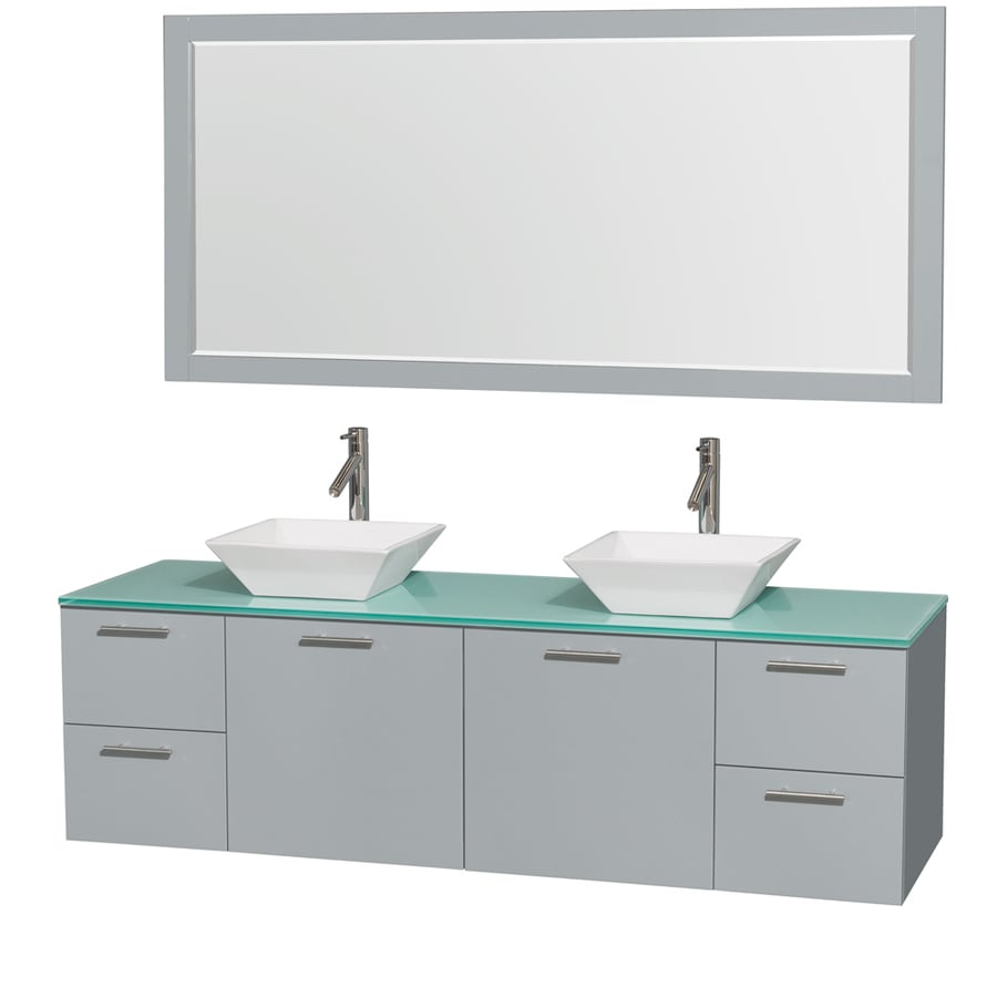 Wyndham Collection Amare Dove Gray (Common: 72-in x 22-in) Vessel Double Sink Bathroom Vanity with Tempered Glass and Glass Top (Mirror Included) (Actual: 72-in x 22.25-in)