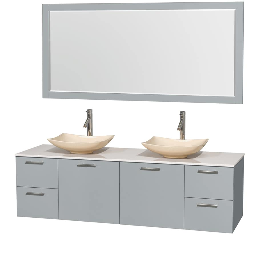 Wyndham Collection Amare Dove Gray Double Vessel Sink Bathroom Vanity with Engineered Stone Top (Common: 72-in x 22-in; Actual: 72-in x 22.25-in)