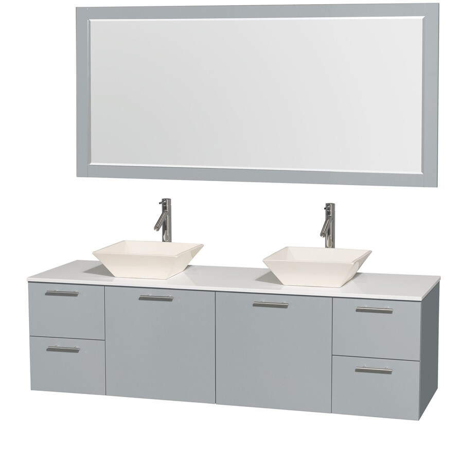 Wyndham Collection Amare Dove Gray (Common: 72-in x 22-in) Vessel Double Sink Bathroom Vanity with Engineered Stone Top (Mirror Included) (Actual: 72-in x 22.25-in)