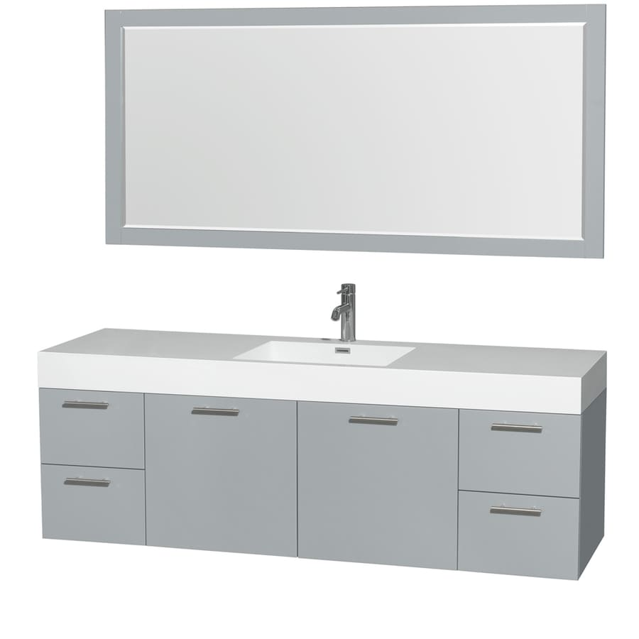 Wyndham Collection Amare Dove Gray 72-in Integral Single Sink Bathroom Vanity with Acrylic Top (Mirror Included)
