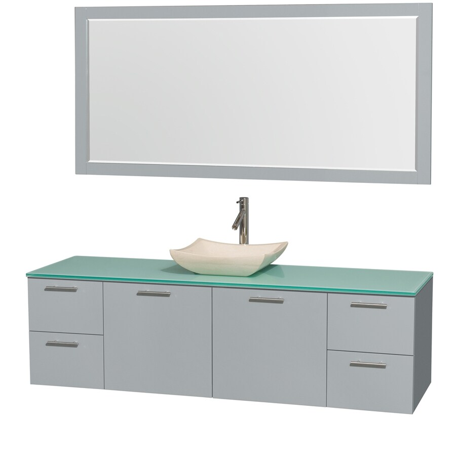 Wyndham Collection Amare Dove Gray Single Vessel Sink Bathroom Vanity with Tempered Glass and Glass Top (Common: 72-in x 22-in; Actual: 72-in x 22-in)