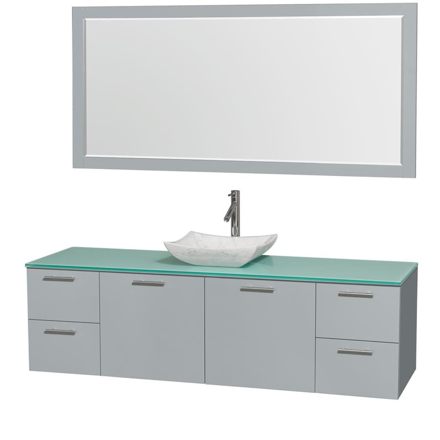 Wyndham Collection Amare Dove Gray 72-in Vessel Single Sink Bathroom Vanity with Tempered Glass and Glass Top (Mirror Included)