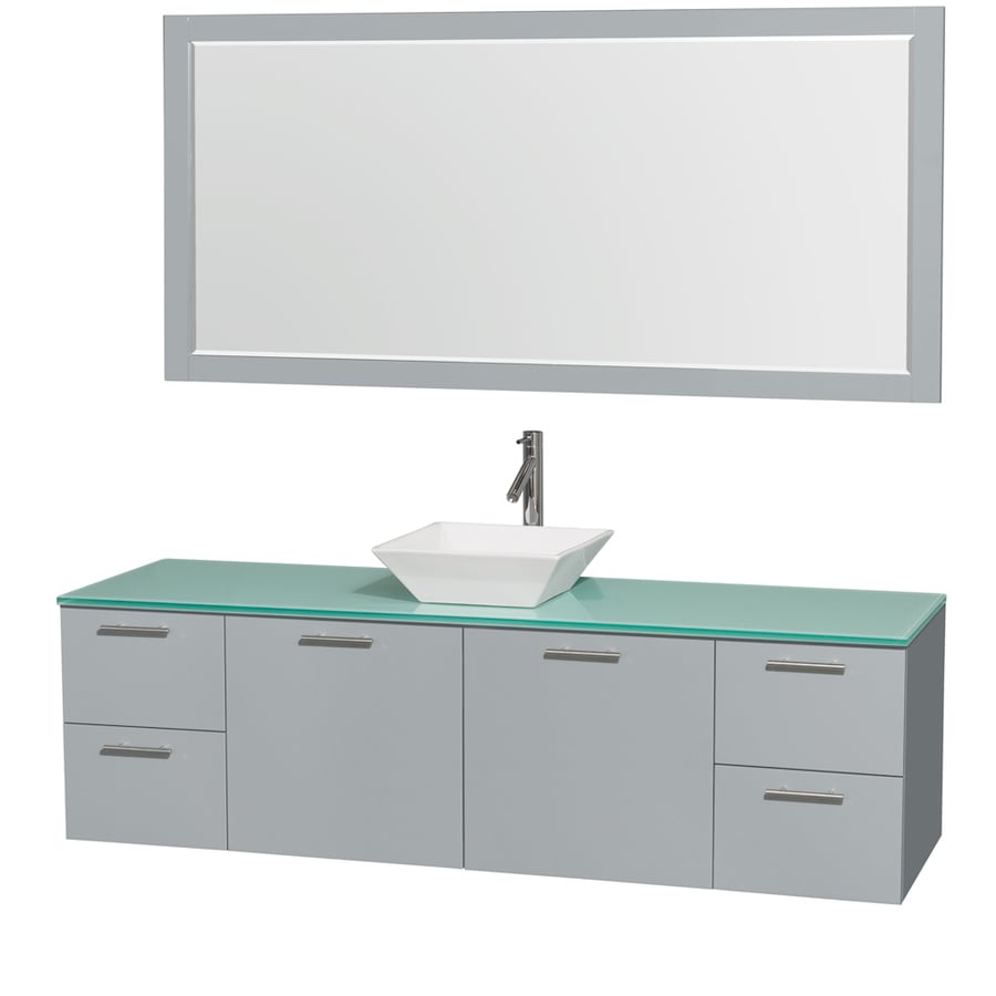 Wyndham Collection Amare Dove Gray (Common: 72-in x 22-in) Vessel Single Sink Bathroom Vanity with Tempered Glass and Glass Top (Mirror Included) (Actual: 72-in x 22-in)