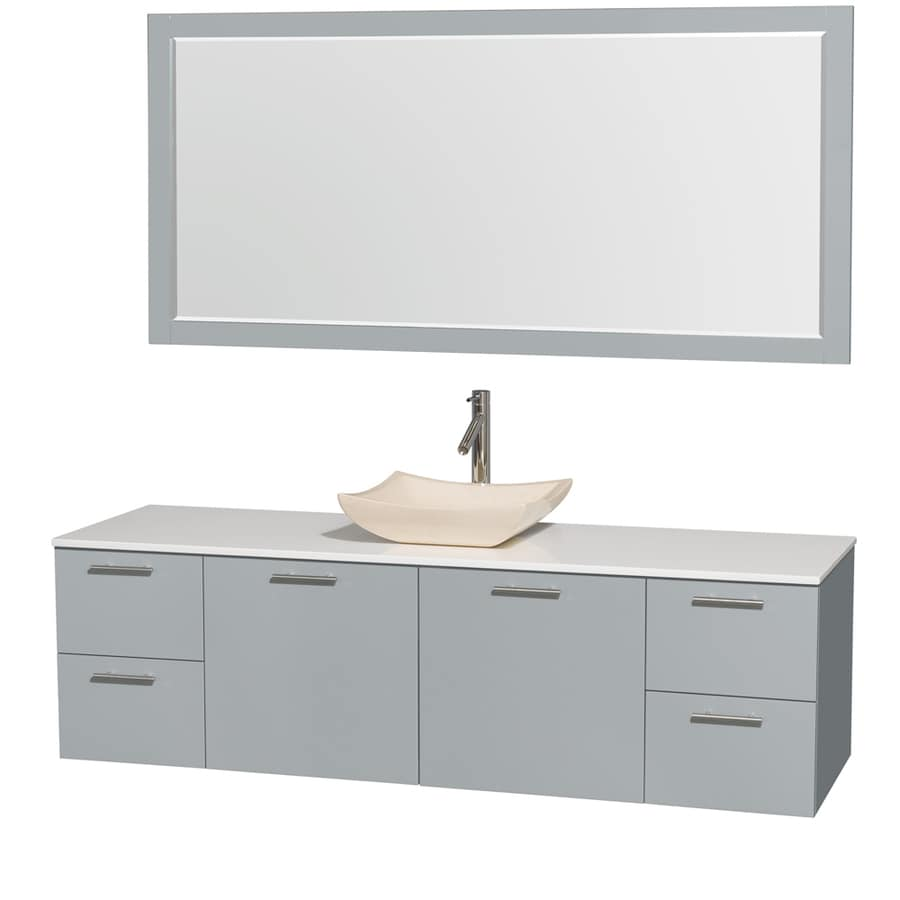 Wyndham Collection Amare Dove Gray 72-in Vessel Single Sink Bathroom Vanity with Engineered Stone Top (Mirror Included)
