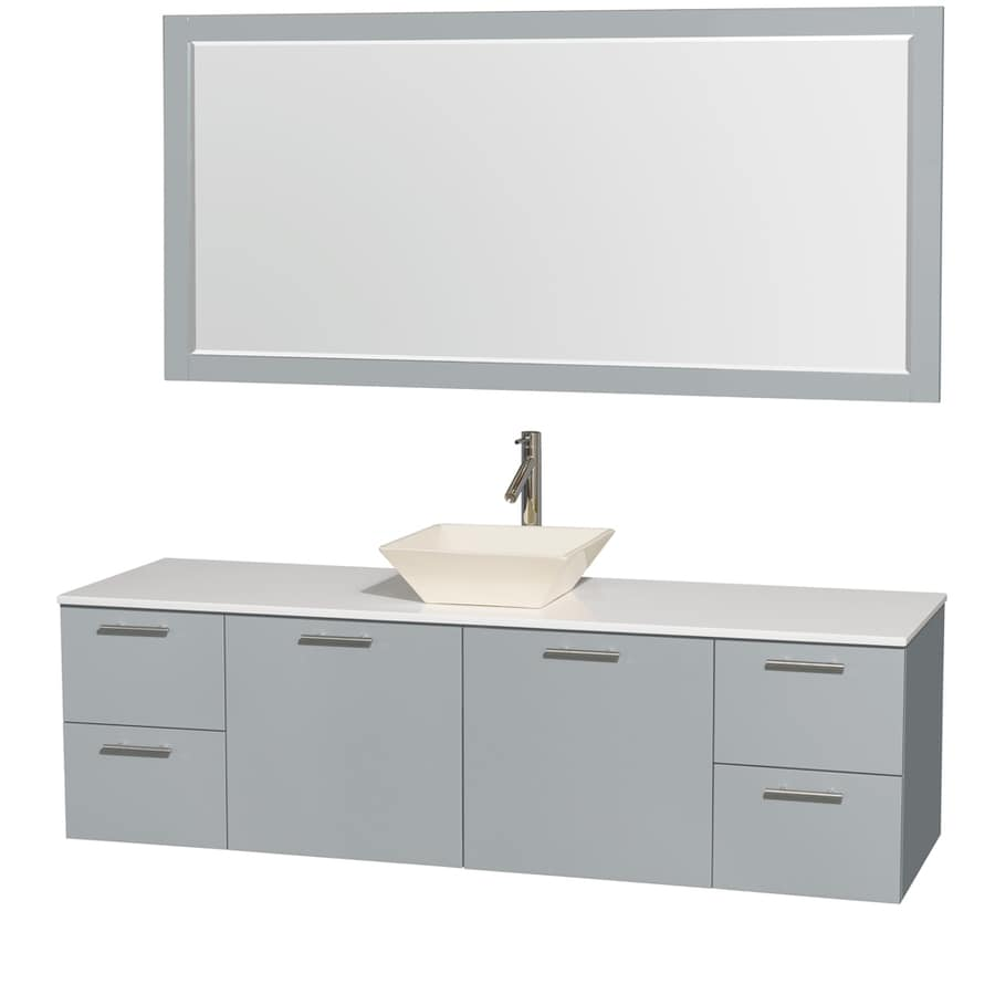 Wyndham Collection Amare Dove Gray Single Vessel Sink Bathroom Vanity with Engineered Stone Top (Common: 72-in x 22-in; Actual: 72-in x 22-in)