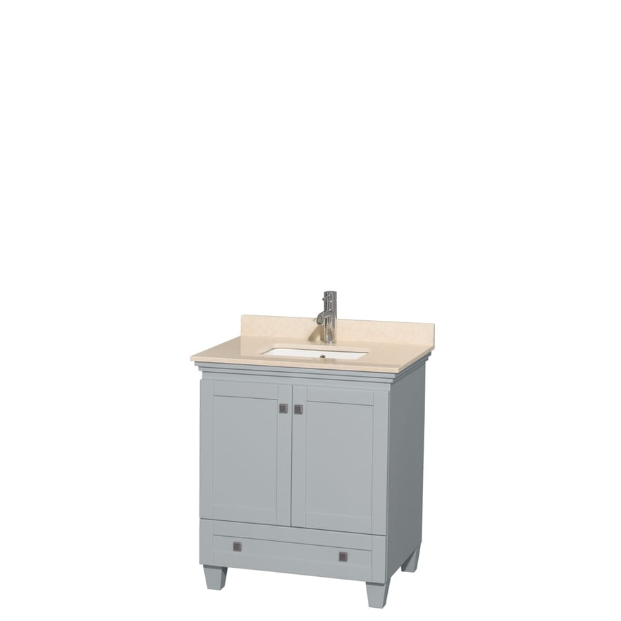Wyndham Collection Acclaim Oyster Gray (Common: 30-in x 22-in) Undermount Single Sink Oak Bathroom Vanity with Natural Marble Top (Actual: 30-in x 22-in)