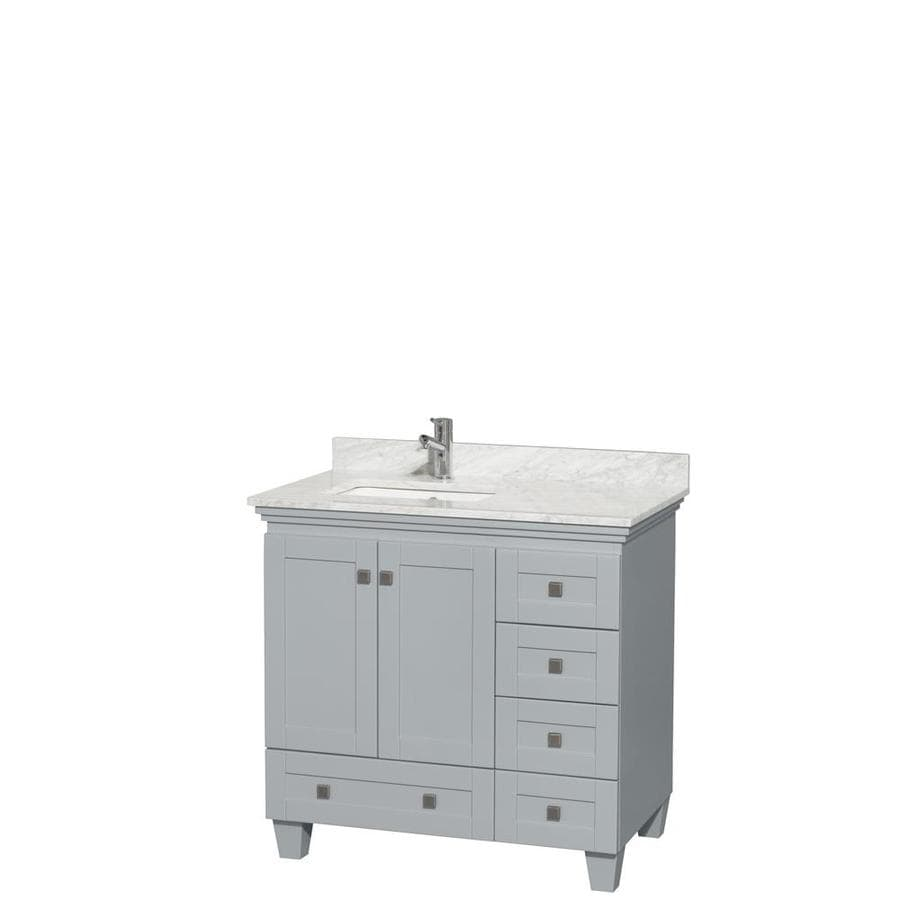 Wyndham Collection Acclaim Oyster Gray 36-in Undermount Single Sink Oak Bathroom Vanity with Natural Marble Top