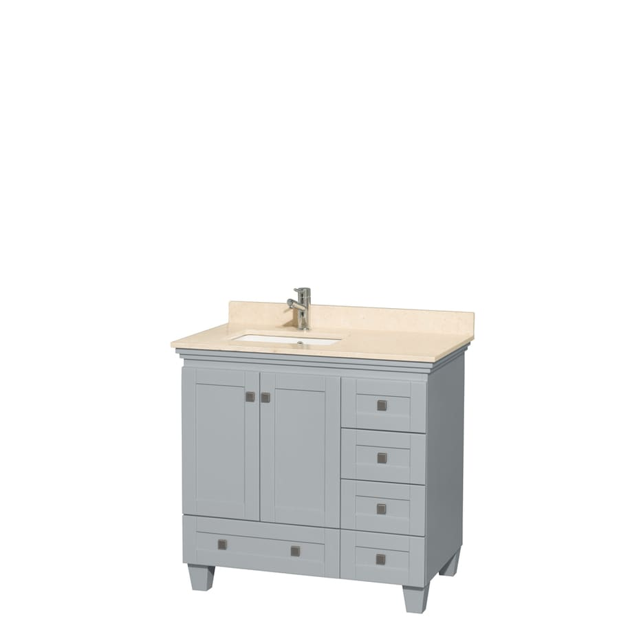 Wyndham Collection Acclaim Oyster Gray Undermount Single Sink Bathroom Vanity with Natural Marble Top (Common: 36-in x 22-in; Actual: 36-in x 22-in)