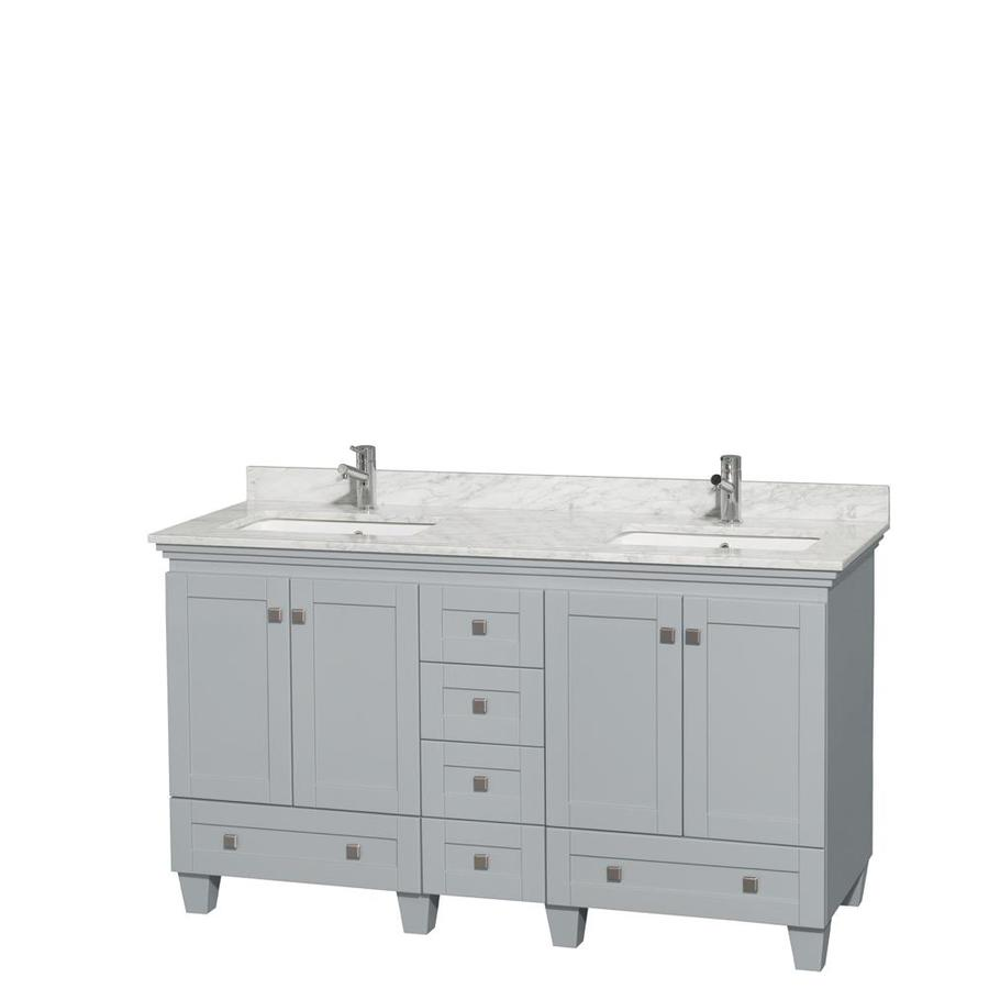 Wyndham Collection Acclaim Oyster Gray Undermount Double Sink Bathroom Vanity with Natural Marble Top (Common: 60-in x 22-in; Actual: 60-in x 22-in)
