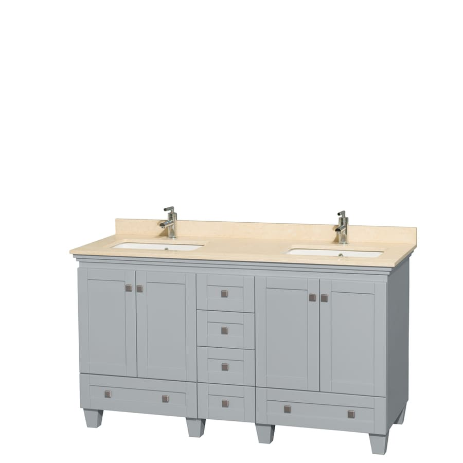 Wyndham Collection Acclaim Oyster Gray 60-in Undermount Double Sink Oak Bathroom Vanity with Natural Marble Top